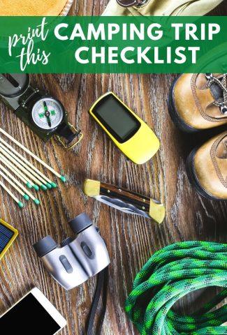 Camping Trip Checklist Printable