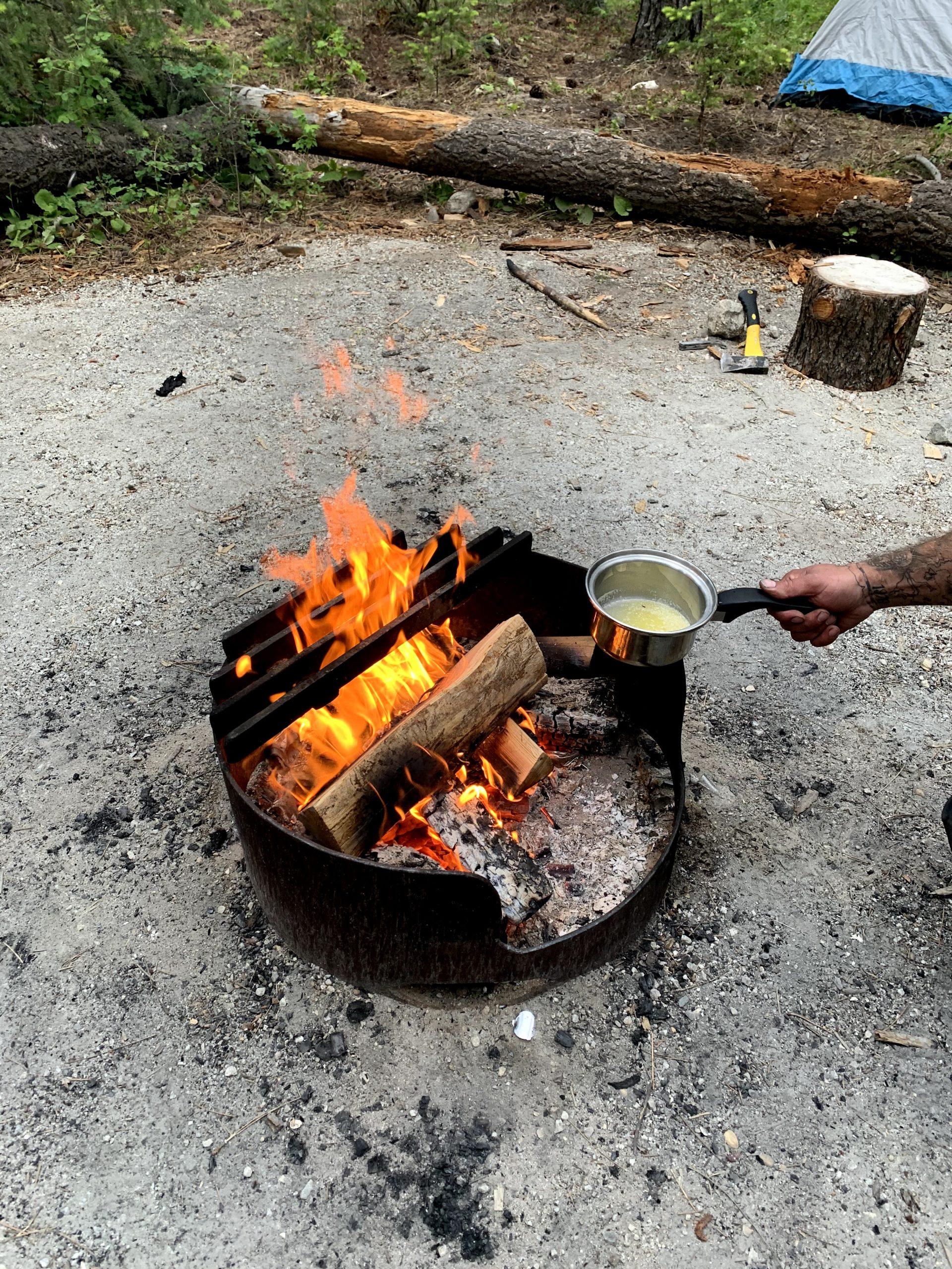 Melting butter on fire