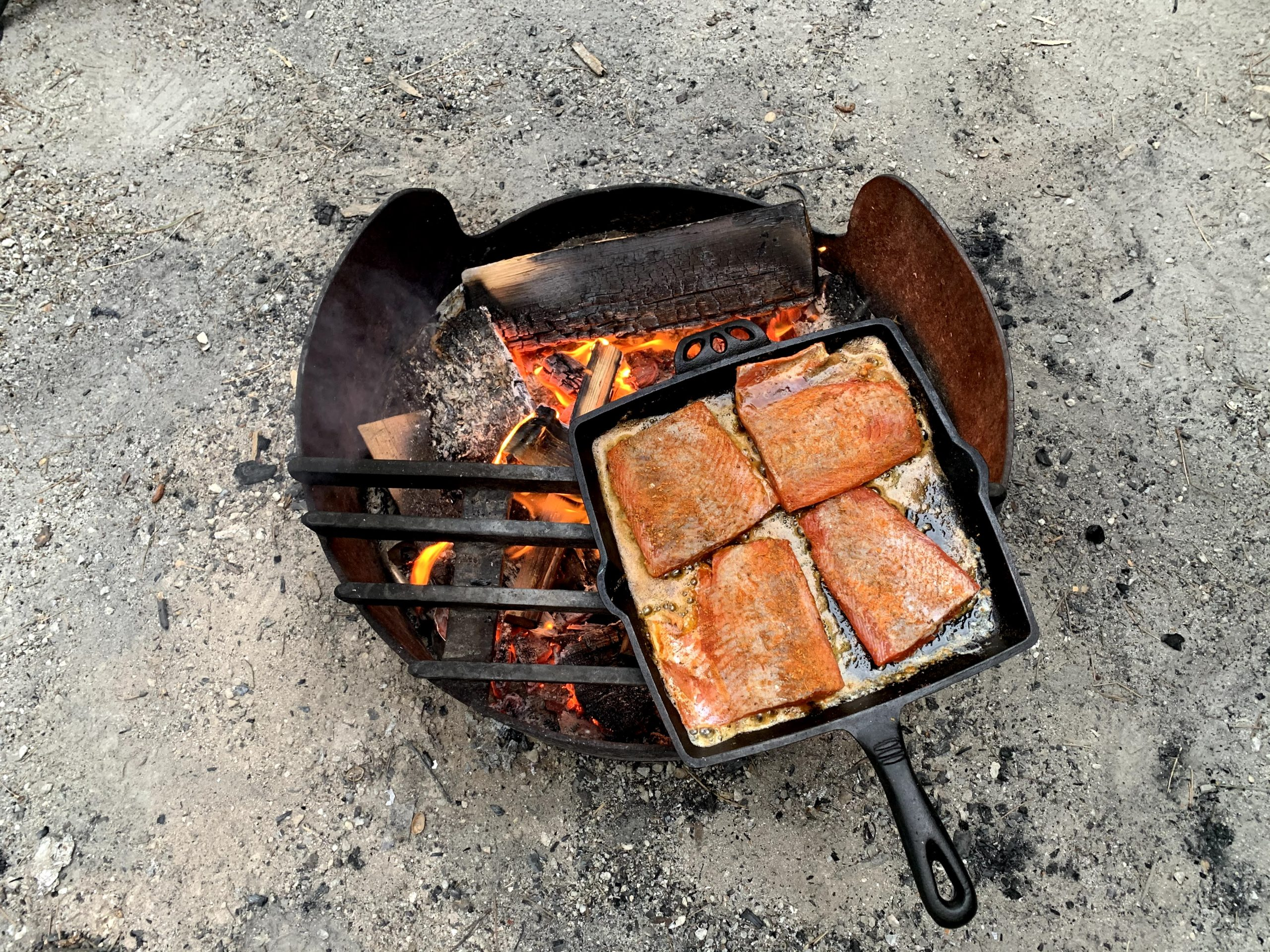 skillet with salmon