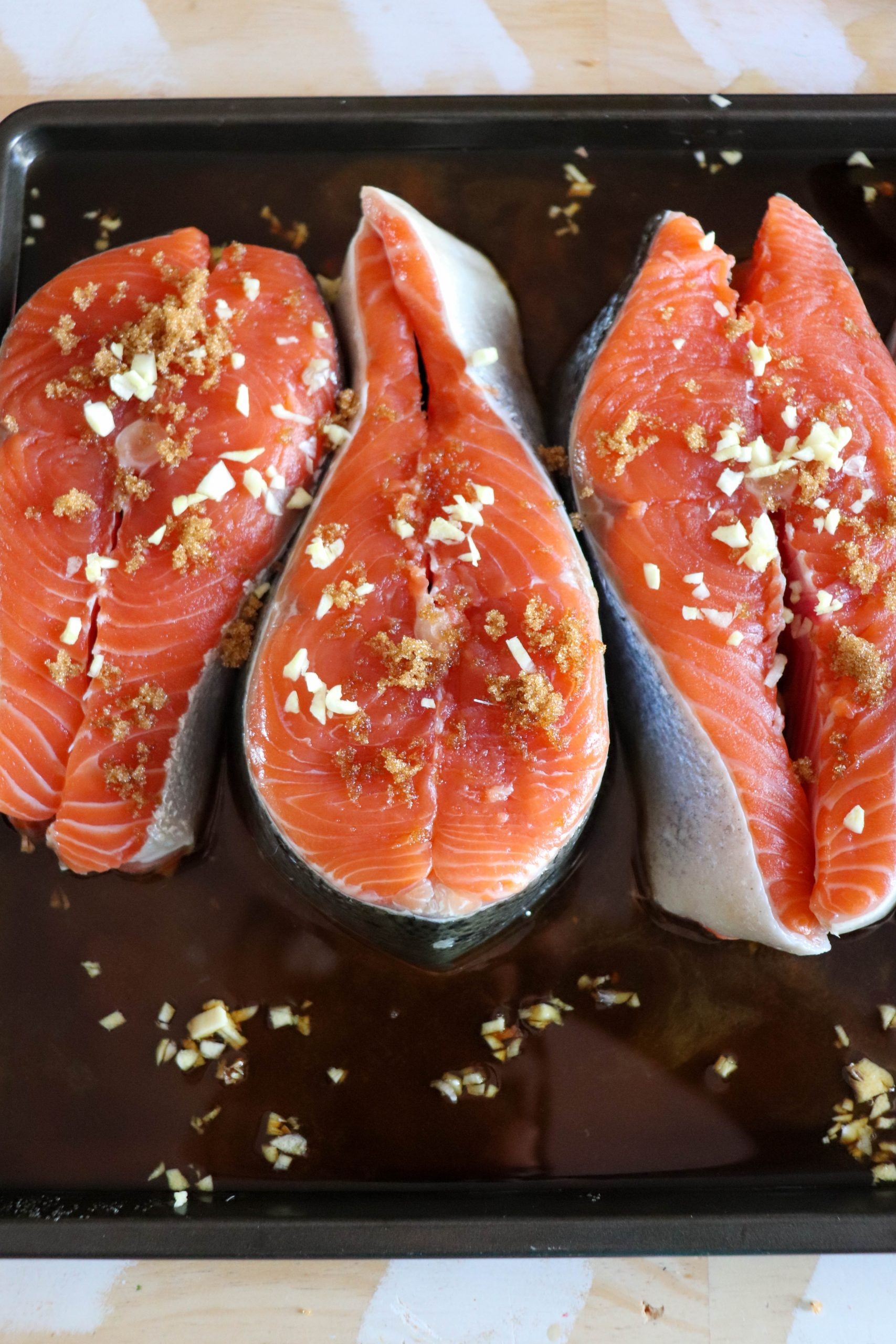 Grilled Salmon Steaks Process